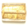 Glass Lamp Bead 18x14mm Rectangle Gold
